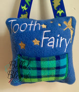 ITH Tooth Fairy Boy pillow with pocket machine applique embroidery design