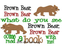Inspired Brown Bear Reading Saying Machine Embroidery Design