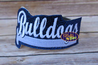ITH in the hoop Bulldogs Sports Headband Topper Slider machine embroidery