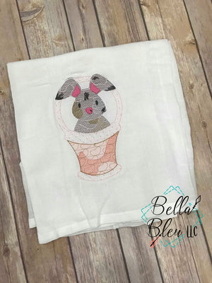 Sketchy Easter Bunny in basket Machine Embroidery design 8x12
