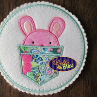Cute Easter Bunny Boy in a Pocket Embroidery Applique design Easter machine embroidery Monogram