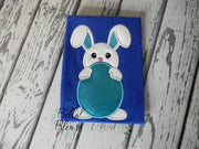 Easter Baby Bunny with Egg Applique Embroidery Design