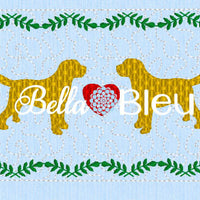 Labrador Retriever Golden Black or Chocolate Faux Smocking Machine Embroidery Design