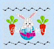 Easter Bunny in a Basket with Carrots Faux Smocking Machine Embroidery Design