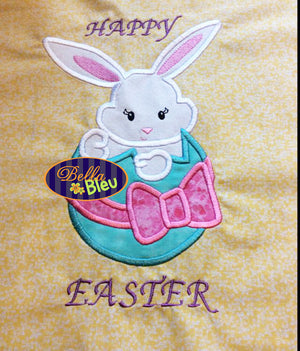 Easter Bunny in an egg Embroidery Applique design Easter machine