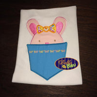 Cute Easter Bunny Girl in a Pocket Embroidery Applique design Easter machine embroidery Monogram