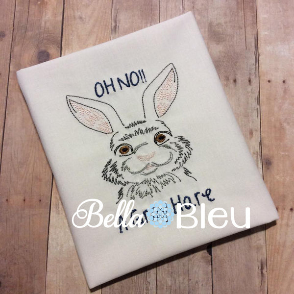 Colorwork Redwork Quick Stitch Bunny machine embroidery design