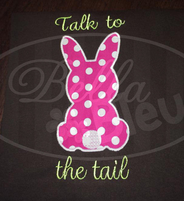 Adorable Cuddly Easter Bunny Rabbit with tail Applique Embroidery Design