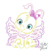 Quick Stitch Girl Butterfly Insect Bug Machine Embroidery Design COLORWORK
