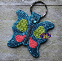 ITH In the hoop Butterfly key fob machine embroidery design