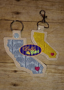 ITH California Filled Key fobs machine embroidery in the hoop design