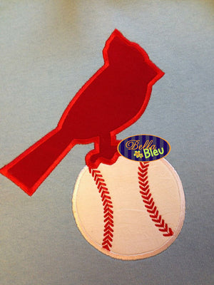 Baseball Softball Cardinals Cards Bird Machine Applique Embroidery Design