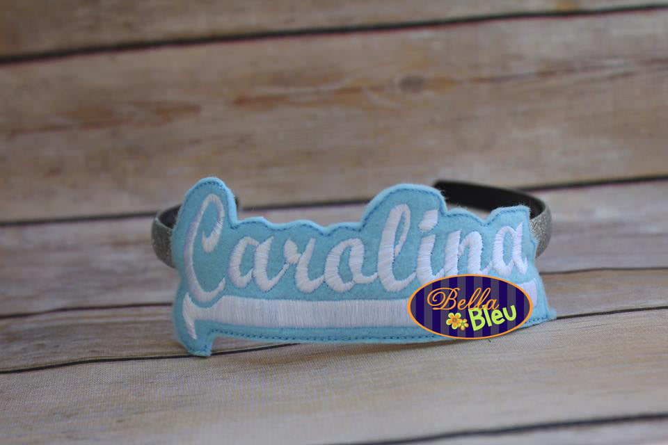 ITH in the hoop Carolina Sports Headband Slider Topper machine embroidery
