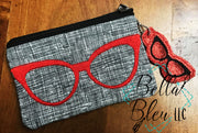 In the Hoop ITH Top Zipper Bag with Vintage Cat Eye Glasses Machine Embroidery Design Zipper bag