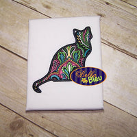 Applique Sitting Kitty Cat Silhouette Embroidery design