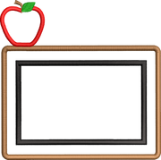 Teacher Back to School Chalkboard Apple Monogram 4x4 Design