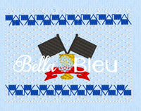 Checkered Flag Race Racing Faux Smocking Machine Embroidery Design