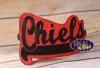 ITH in the hoop Chiefs Sports Headband Slider Topper machine embroidery