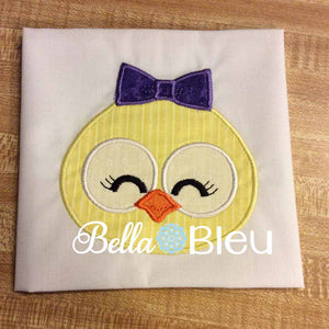 Easter Girl Chick chicken with Bow Machine Applique Embroidery Design