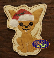 ITH Christmas Santa Chihuahua dog Ornament Machine Applique Embroidery Design