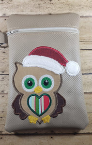 Adorable Christmas Owl Santa Hat Machine Applique Embroidery design - 3 sizes