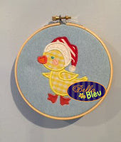 Adorable Christmas Duck in a Santa Hat Machine Applique Embroidery design