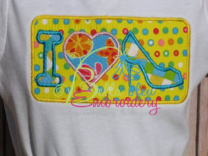 I Love Heels Diva Applique Embroidery Design
