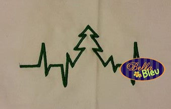 EKG Heartbeat of a Christmas Tree Embroidery Design