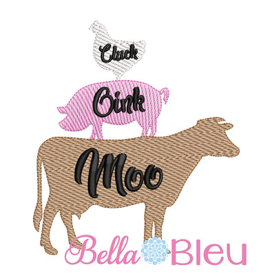 Sketchy Farm Animals trio Chicken Cow Pig machine embroidery design