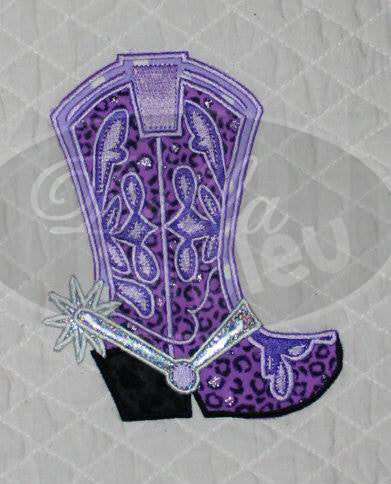 Applique Western Cowboy Cowgirl Boot with Spur Machine Embroidery Design