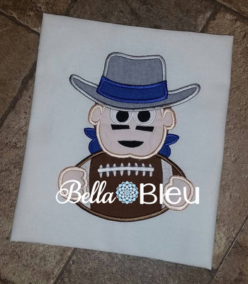 Cowboys Football Mascot Machine Embroidery Applique Design