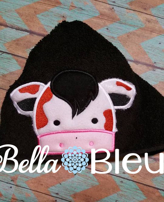 Cow Hooded Towel Topper Peeker Machine Applique Embroidery