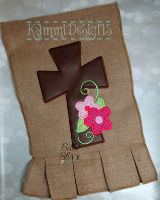Easter Cross with Flowers Applique Machine Embroidery design