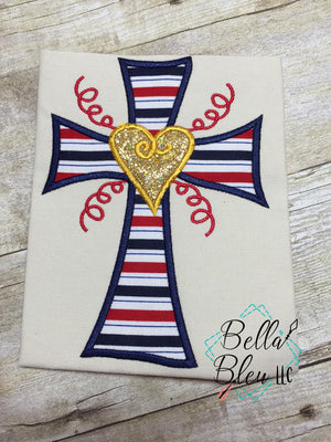 Cross Applique with heart