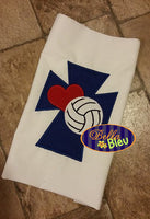 Cross Heart love Volleyball Applique Machine Embroidery Design
