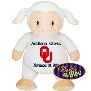 The University of Oklahoma Embroidered Personalized Baby Sheep Lamb Cubbie