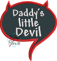 Daddy's Little Devil Speech Bubble Applique Embroidery Design Halloween