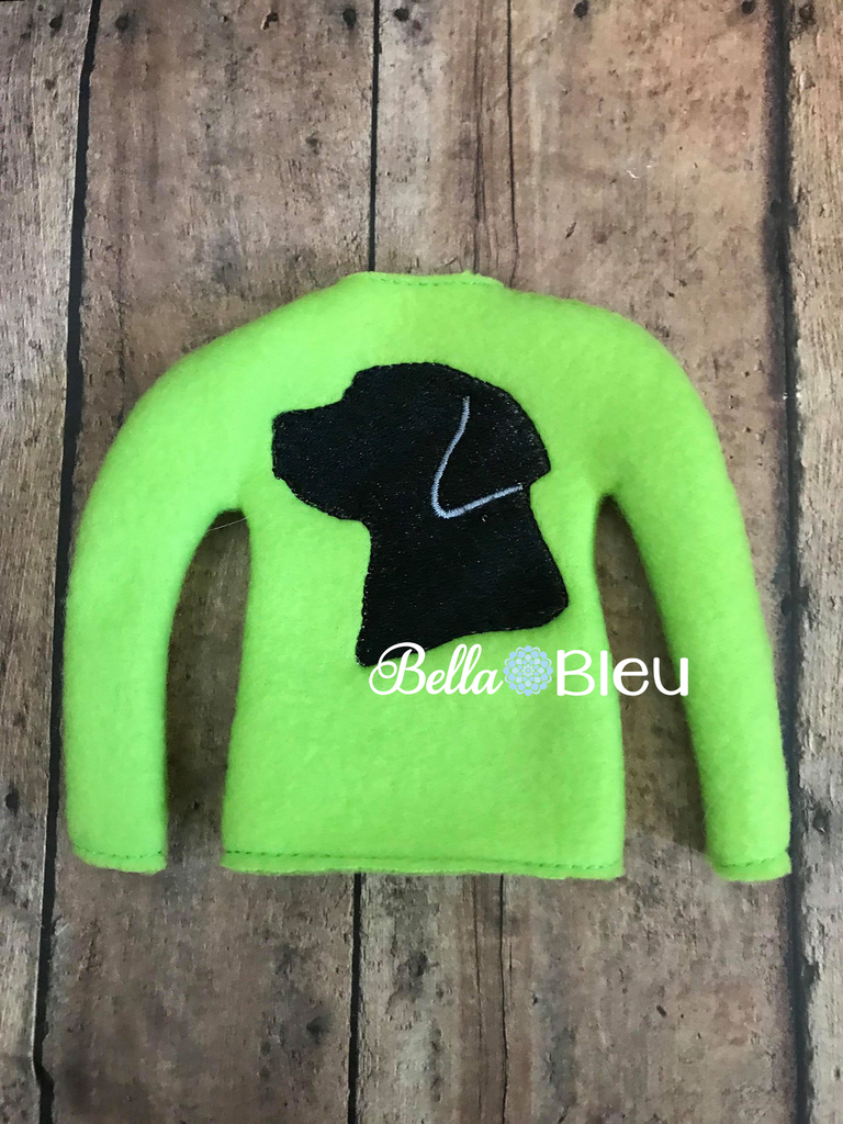 ITH Dog Lab Labrador Elf Sweater Shirt Embroidery Design