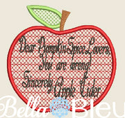 Dear Pumpkin Spice Lovers Apple Cider Funny Saying Motif Machine Embroidery design