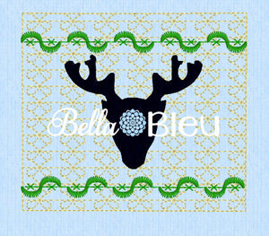 Silhouette Deer Head Hunting Faux Smocking Machine Embroidery Design