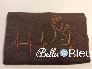 EKG Heartbeat heart beat of a Hunter, Deer, fill machine Embroidery Design