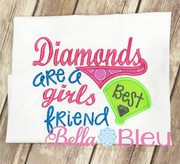 Softball Baseball Diamonds are a girls best friend machine embroidery design