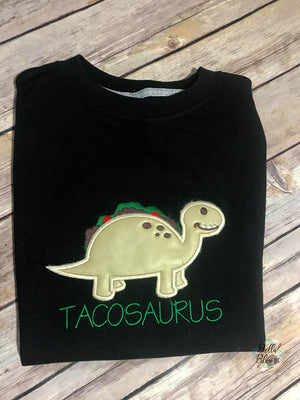 Tacosaurus Dinosaur Taco  Applique Embroidery Designs