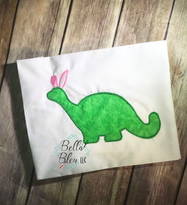 Easter Dinosaur with Bunny ears silhouette Applique Machine Embroidery design