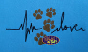 EKG Heartbeat heart beat of Dog Puppy paw prints love fill machine Embroidery Designs Design