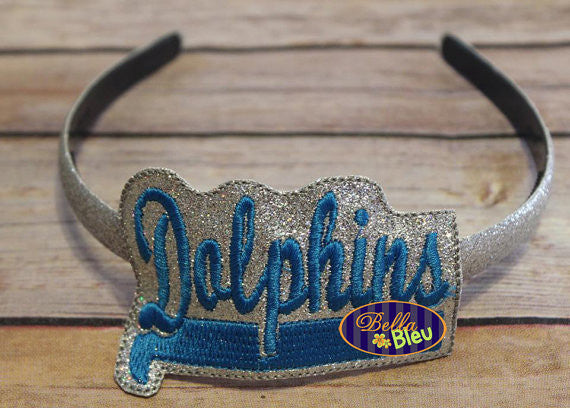 ITH in the hoop Dolphins Headband Slider Topper machine embroidery