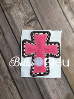 Religious Double Cross Applique Machine Embroidery Design