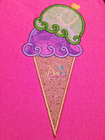 Double Scoop Ice Cream Cone Applique Embroidery Design