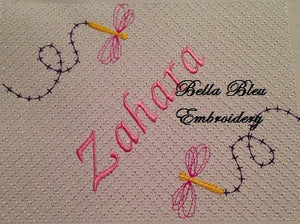 Faux Smocking Dragonfly Monogram Machine Embroidery Design