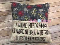 5x7 hoop Inspired Game of Thrones Dragon Motif and Reading Book Quote